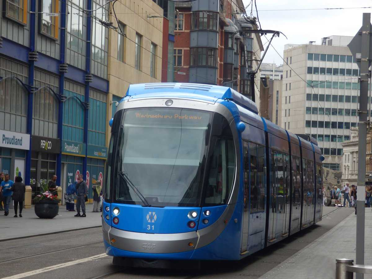 Blue tram 31 on Corporation Street