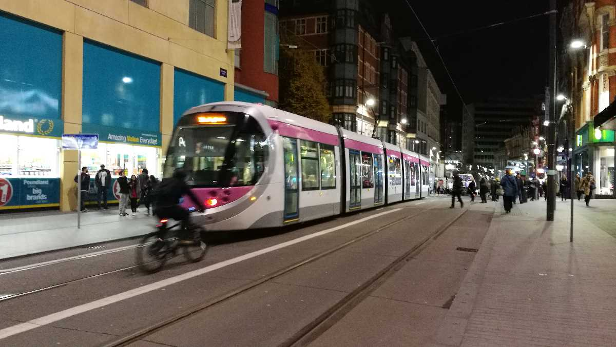 Urbos 3 tram on Corporation Street